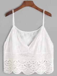 Top corto con bordado de flor de croché - blanco