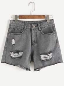 Shorts en denim rotos desflecados - gris