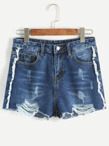 Shorts rotos efecto lavado desflecados en denim - azul oscuro