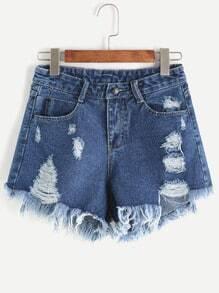 Shorts rotos desflecados en denim - azul oscuro