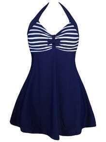 Blue Striped Print Halter Swim Dress