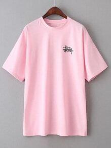 Pink Letter Print Short Sleeve T-shirt