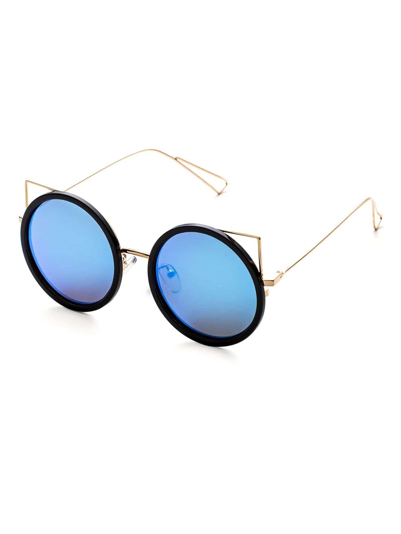 Golden Frame Black Sunglasses : Black And Gold Frame Blue Lens Round Design Sunglasses