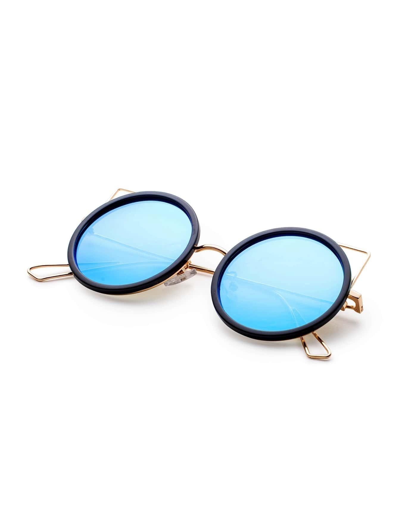 noir et or cadre bleu lunette ronde design lunettes de soleil french romwe. Black Bedroom Furniture Sets. Home Design Ideas