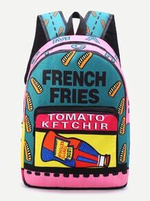 Multicolor Letter Print Front Pocket Canvas Backpack