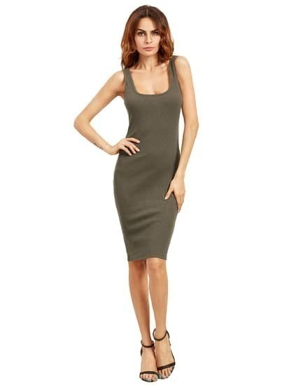 Light Army Green Sleeveless U Neck Bodycon Dress