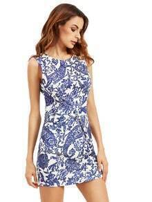 Blue Sleeveless Tribal Print Bodycon Dress