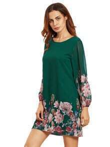 Green Lantern Sleeve Floral Shift Dress