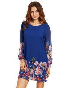 Blue Lantern Sleeve Floral Shift Dress