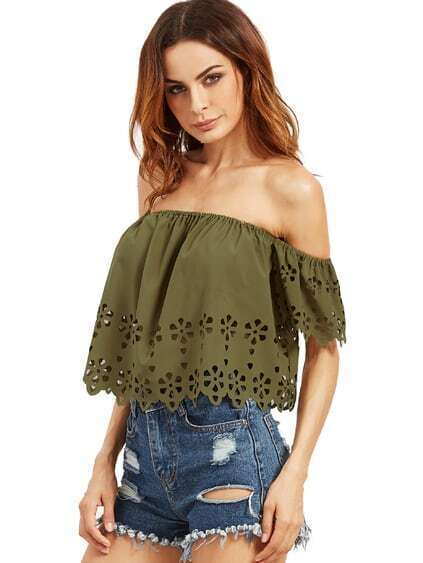 Army Green Off The Shoulder Hollow Crop Blouse