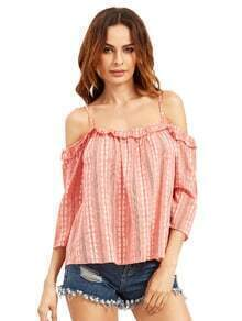 Burgundy Cold Shoulder Ruffle Blouse