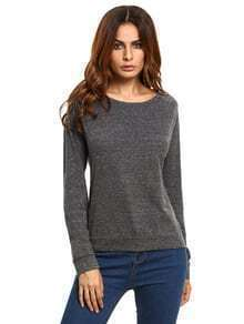 Black Slouchy Pullover Sweatshirt