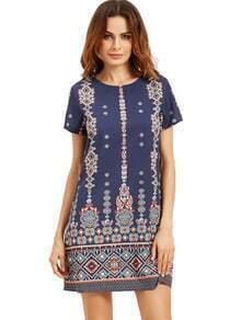 Aztec Print Short Sleeve Shift Dress