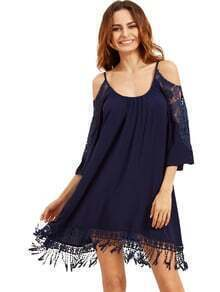 Navy Open Shoulder Crochet Lace Sleeve Tassel Dress
