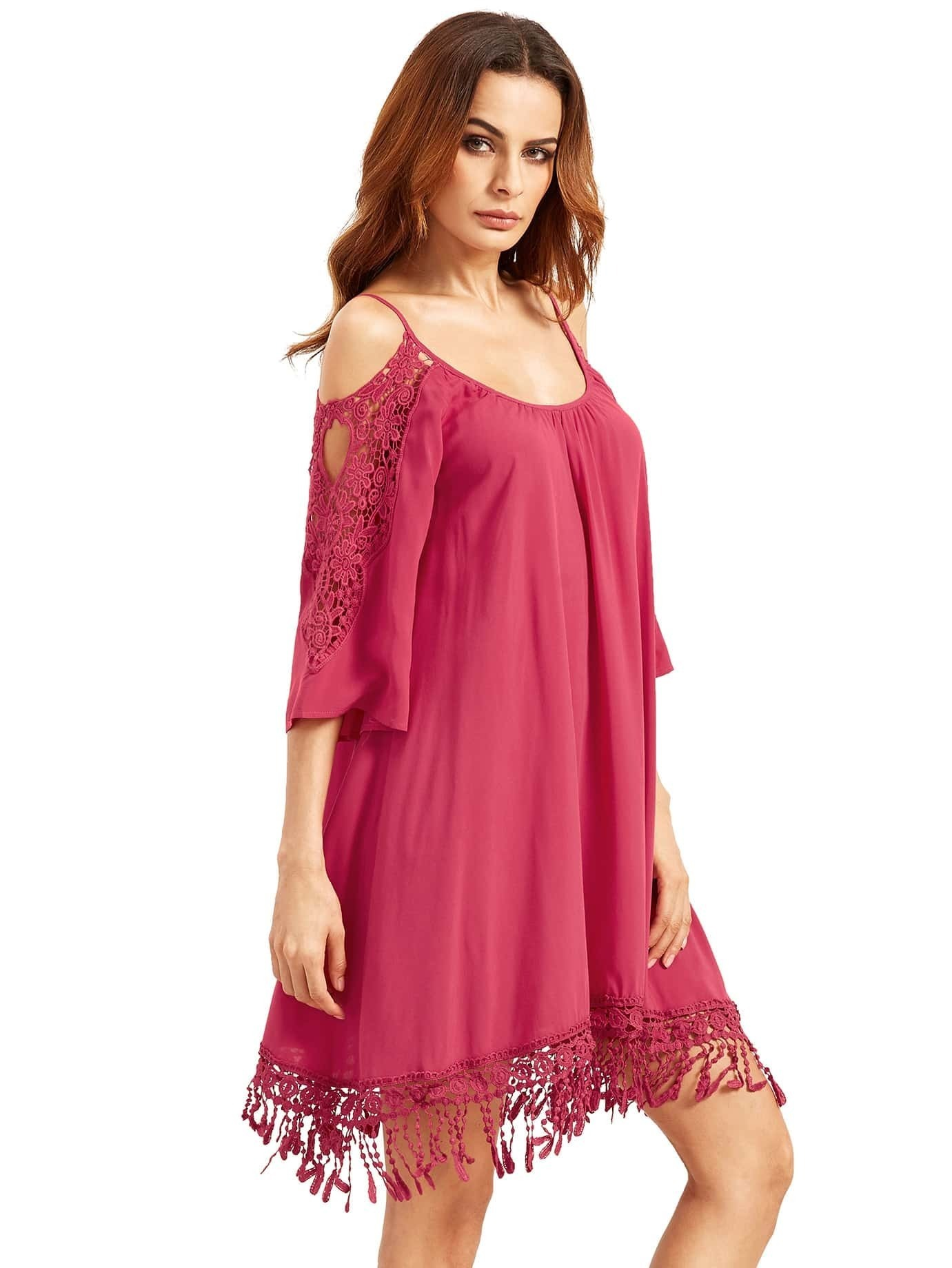 Hot Pink Open Shoulder Crochet Lace Sleeve Tassel DressFor ...