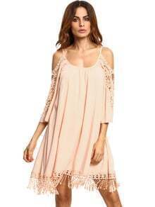Apricot Open Shoulder Crochet Lace Sleeve Tassel Dress