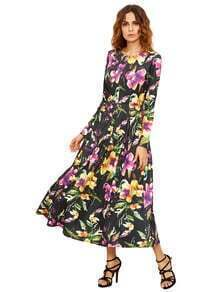 Black Long Sleeve Flowery Floral Pastel Dress
