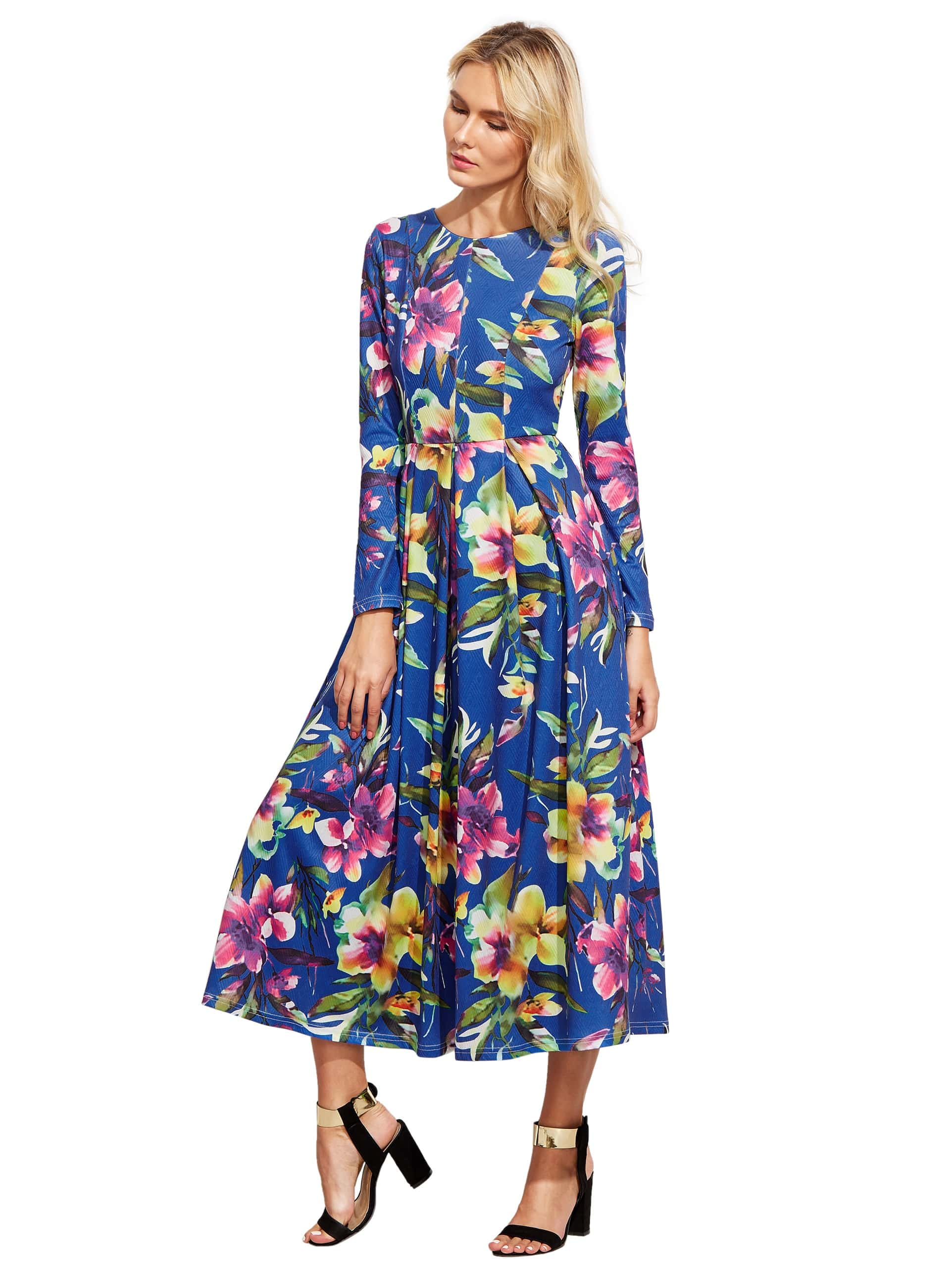 Blue Long Sleeve Flowery Floral Pastel Dress