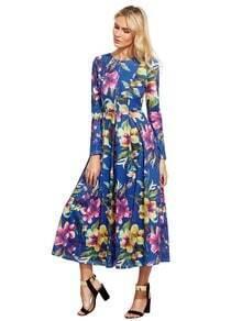 Blue Long Sleeve Flowery Floral Pastel Dress