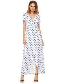 Blue White Print Split Long Dress