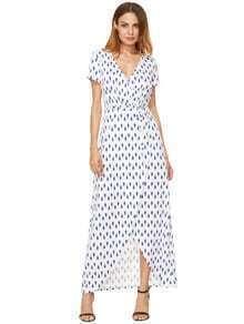 Vestido largo dividido de impresión blanca azul