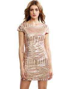 Gold Cap Sleeve Backless Sequined Dress