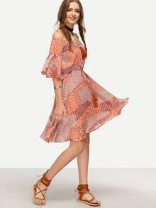 Multicolor Bell Sleeve Printed Flare Dress