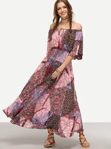 Vestido bohémico estampado hombros al aire - multicolor
