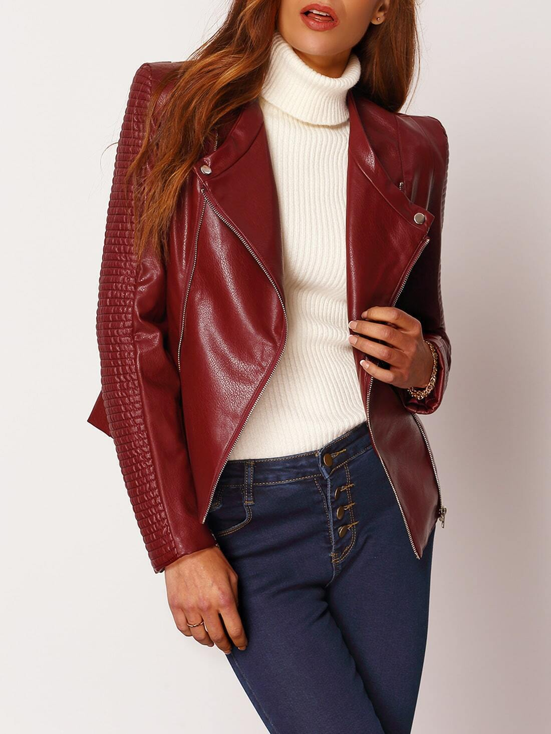 Burgundy Long Sleeve Zipper PU Leather Jacket