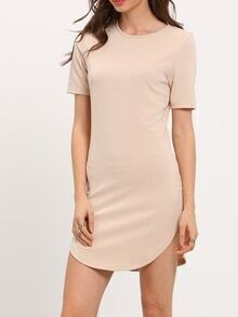 Apricot Round Neck Short Sleeve Dress