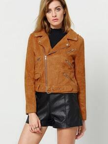 Brown Long Sleeve Lapel Zipper Jacket