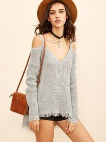Grey Cold Shoulder Waffle Knit High Low Sweater