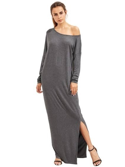 Dark Grey Oblique Shoulder Boatneck Bat Sleeve Slit Dress