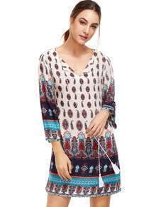 Multicolor Split Tie Neck Tribal Print Dress