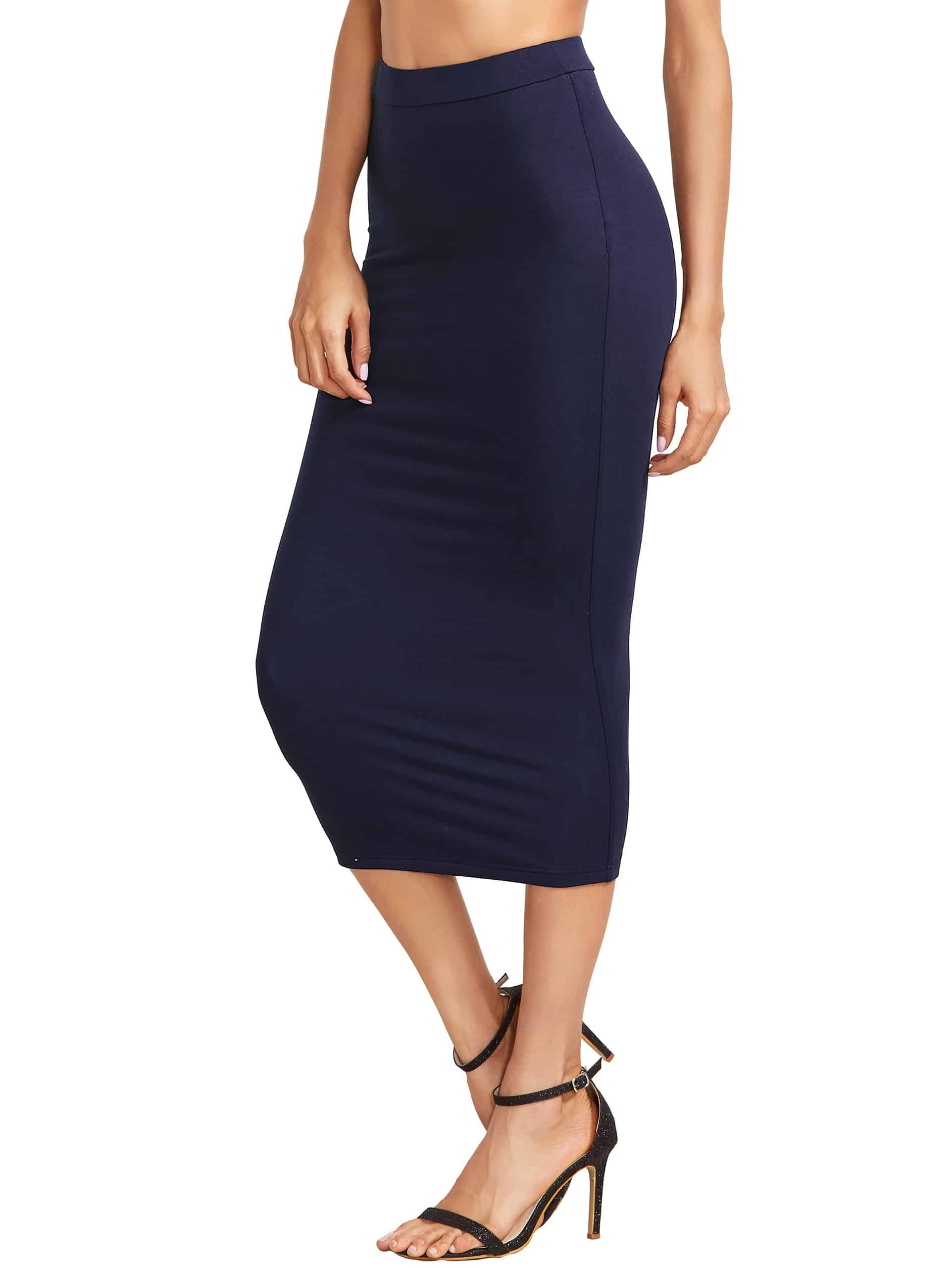 Navy High Waist Sheath Skirt