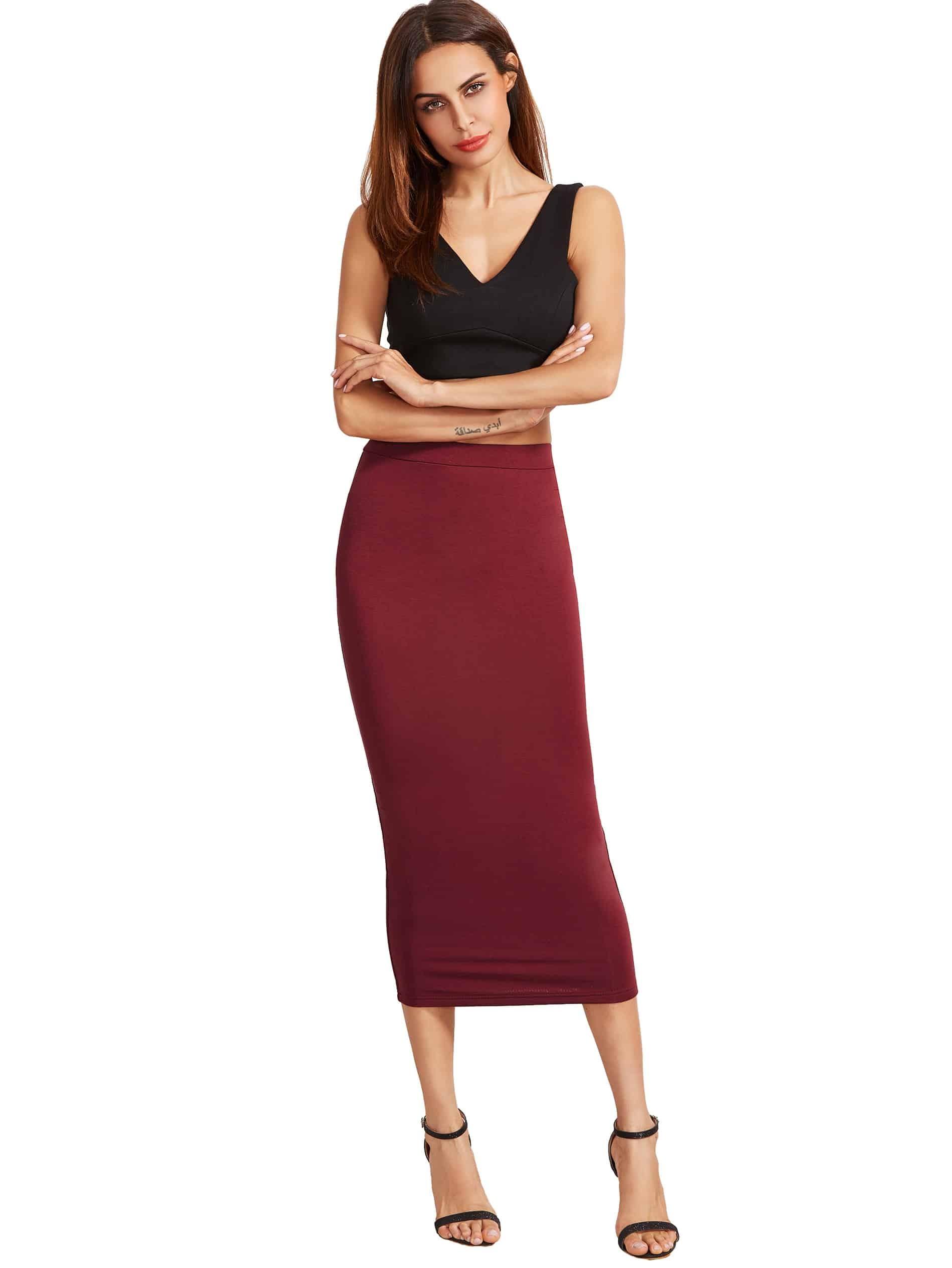 Burgundy High Waist Sheath Skirt