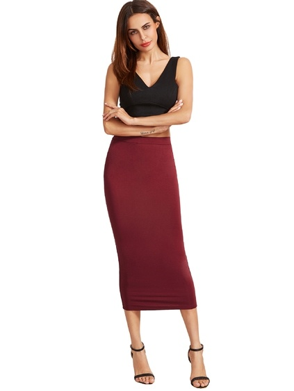 Burgundy High Waist Sheath Skirt