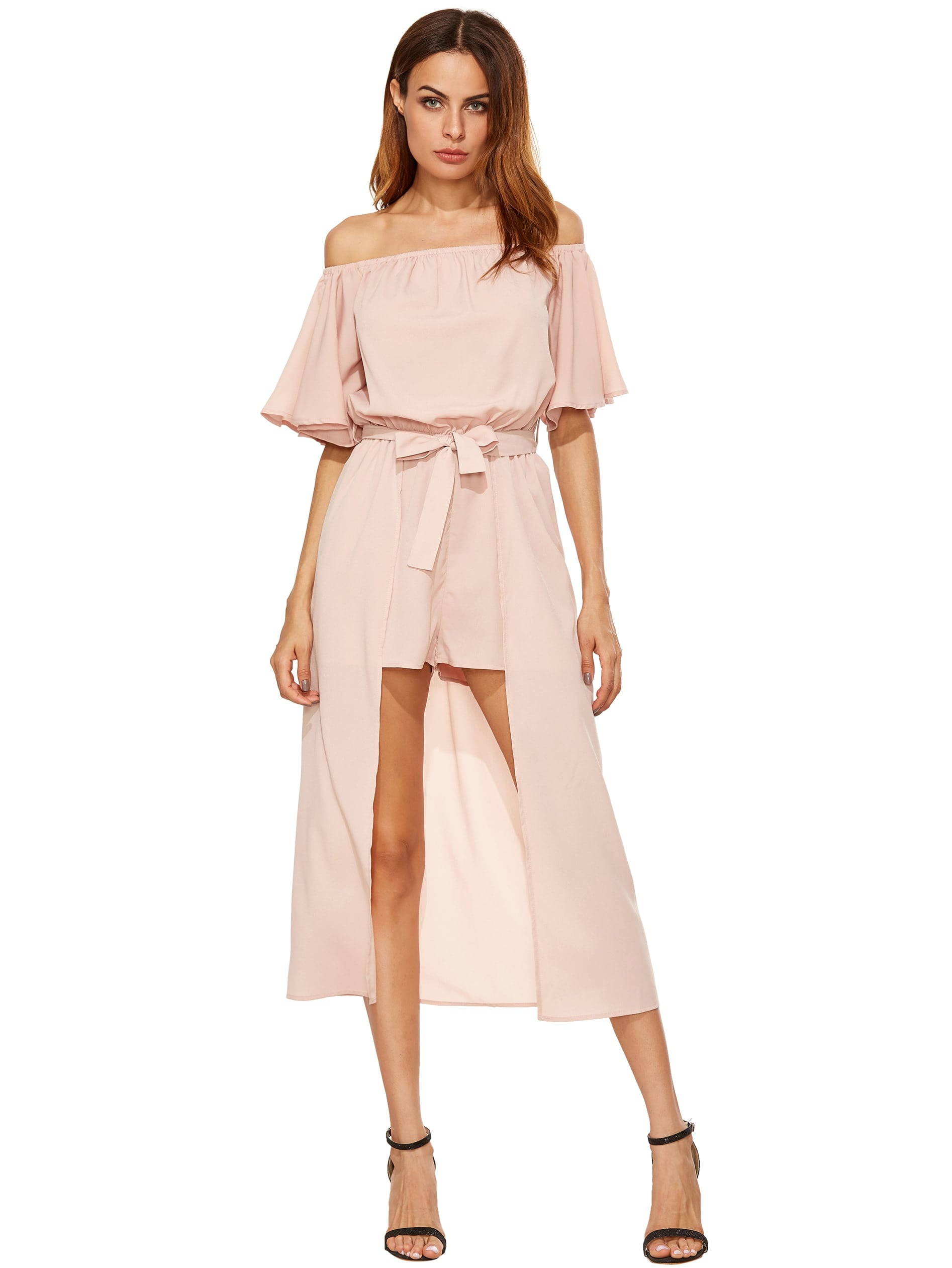 Off The Shoulder Jumpsuit With Skirt OverlayFor Women-romwe