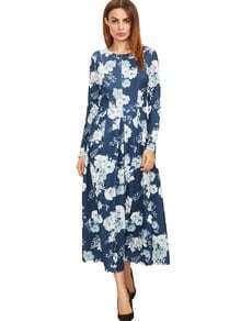 Vestido con estampado de flores marino
