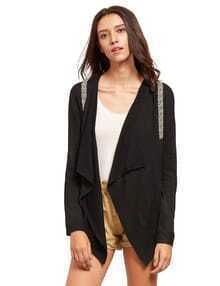 Black Tape Detail Lapel Knitted Cardigan