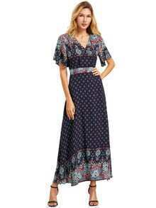 Green Print V Neck Half Sleeve Split Dress
