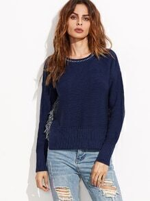 Navy Split Side Dip Hem Sweater