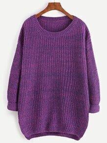 Jersey tejido estilo cocoon - violeta