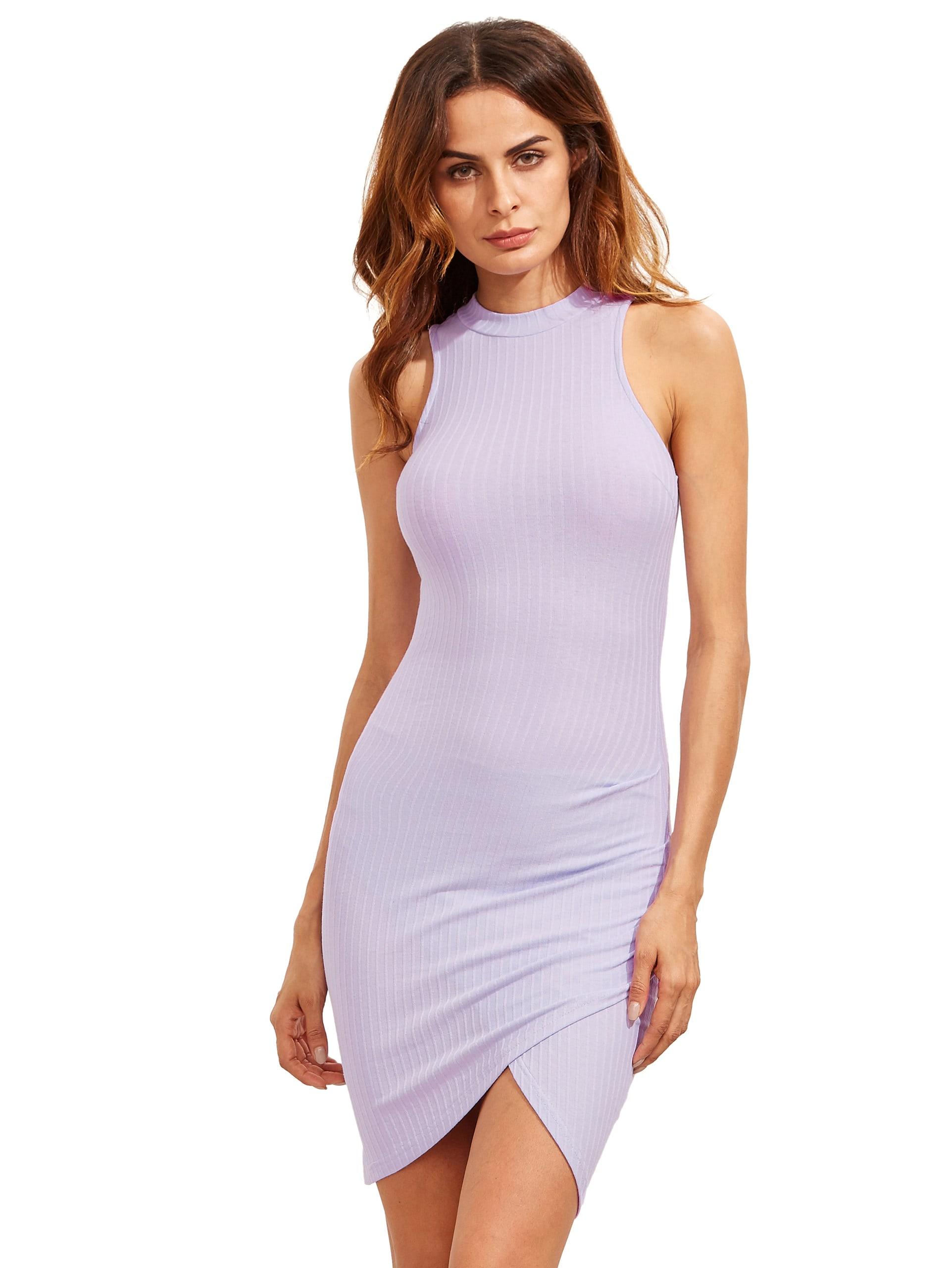 Purple Crew Neck Sleeveless Ribbed Wrap Dress