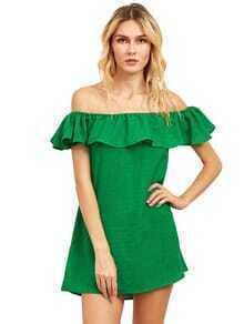 Flounce Off-The-Shoulder Dress - Green