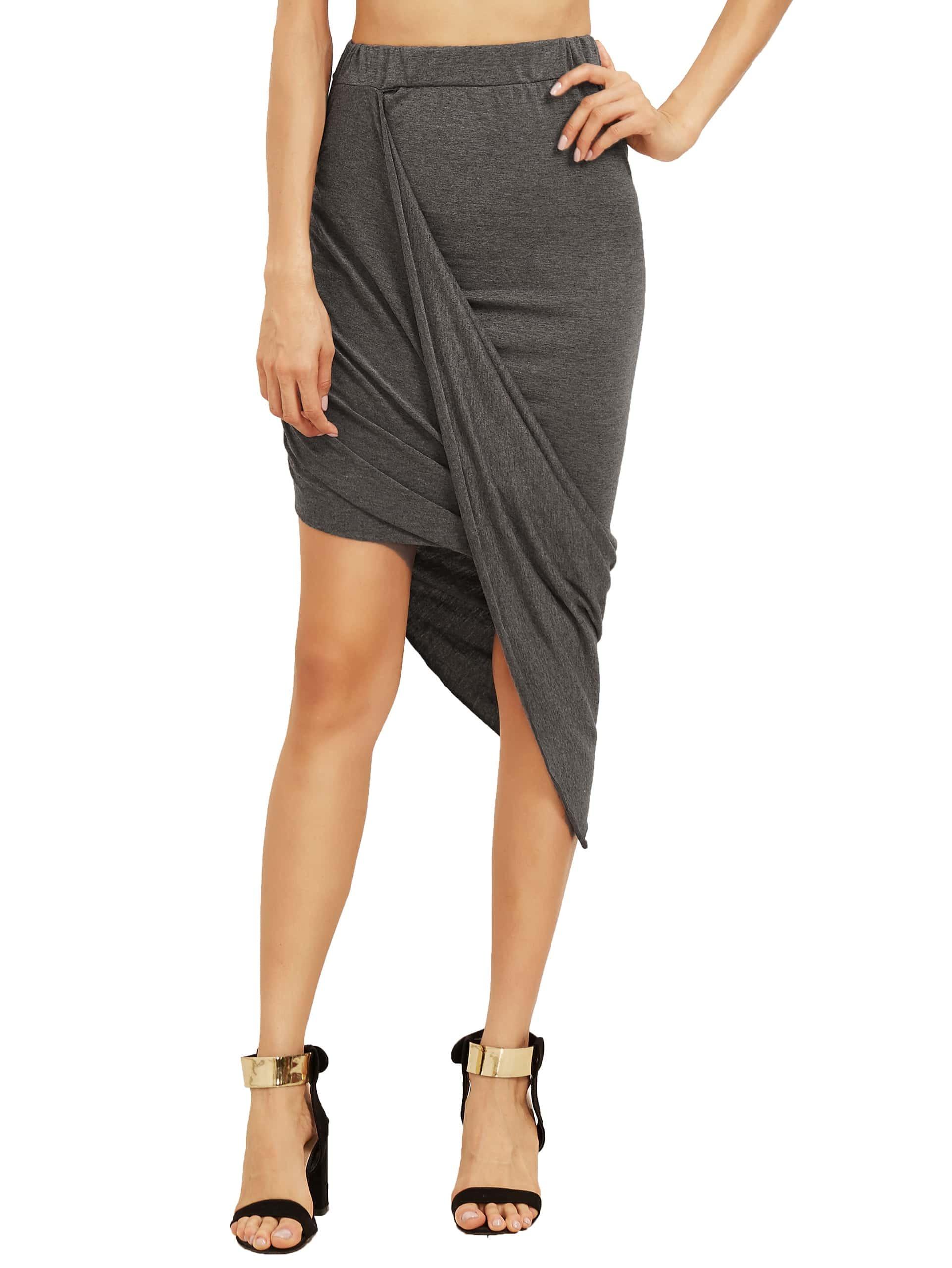 Grey Slim Bodycon Asymmetrical Skirt