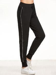 Black Striped Side Ribbed Hem Drawstring Pants
