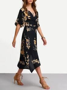 Kleid gewickelt mit V-Ausschnitt und Blumenmuster lässig -schwarz