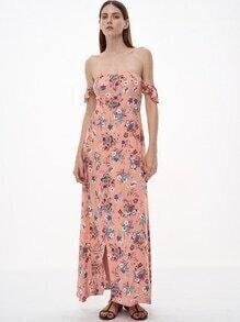 Rüschen Kleid mit Blumen Schulterfrei-rosa