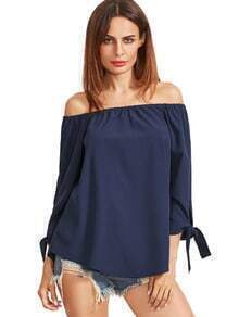 Navy Off The Shoulder Bow Tie Cuff Blouse